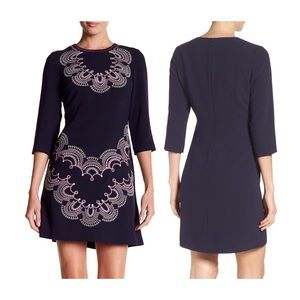 Eliza J Paisley Embroidered Dress